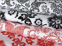 Red Black white filigree floral 100% COTTON fabric material craft dressmaking