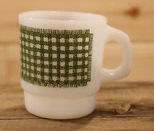 Fire King Anchor Hocking Vintage Milk Glass Coffee Mug Green Plaid Pattern +