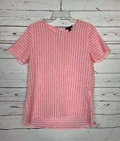 J.Crew Women's Size 4 Pink Short Sleeve Cute Summer Zipper Top Blouse Shirt