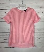 J.Crew Women's Size 4 Pink Short Sleeve Cute Summer Zipper Top Blouse Shirt
