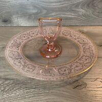 Pink With Gold Depression Glass Oval Dessert Platter w/ Center Handle, Vintage