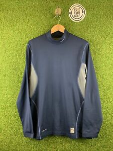 NIKE GOLF, Mens Size L, Navy/Grey, LS Stretch Fit, Collared Golf Base Layer,*VGC