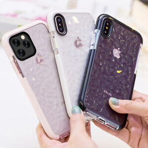 Diamond Texture Clear Shockproof Soft Case Cover For iPhone 11 XS Max XR X 8 7 6