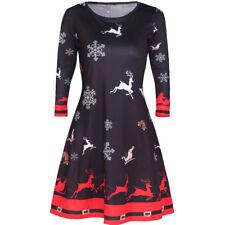 Damen Langarm Swing Skaterkleid Minikleid Cocktail Partykleid Weihnachtskleid DE