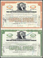Lot of 2: 1930s New York Central Railroad Company Stock Certificates, Vanderbilt