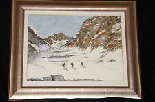 Original Watercolor Mountaineering Expedition Scene Framed Under Glass Unsigned