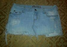 Hollister Destroyed Distressed Denim Mini Skirt Juniors Size 1