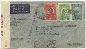 Brasilien Luftpost Zensur R Brief Juiz de Fora Miami Jerusalem Palästina 1941
