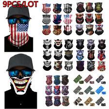 9 Pack Face Neck Gaiter Balaclava Bandana Scarf Fishing Sun Headwear Muti-use