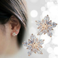 925 Sterling silver Ladies Cute Snow Snowflake Swarovski Crystal Stud Earrings