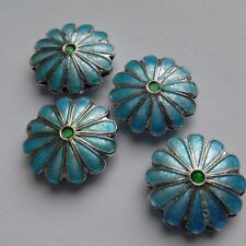 4 Cloisonne Beads, Ornate Floral Shape, Blue/Silver 18mm. Jewellery/Bead Making