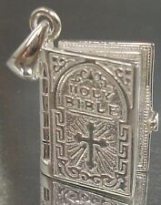 925 STERLING SILVER HOLY BIBLE turning Pages Lord's Prayer PENDANT 11mm x 14.5mm