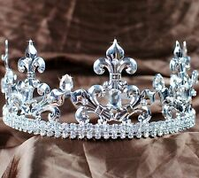 Men King Tiara Imperial Medieval Rhinestone Crown Headband Pageant Party Costume