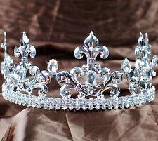 Men King Tiara Imperial Medieval Rhinestone Crown Headband Pageant Party Costume