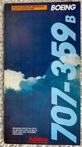 AVIANCA BOEING 707-359B SAFETY CARD