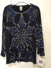Jess and Jane Holiday & Christmas Snowflakes Black Blue Shirt New Large