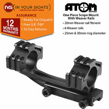 Airsoft weaver rail forward reach 1 piece riflescope mount. Suits 25+30mm scopes