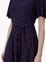 JOULES • Monica Short Sleeve Jersey Dress With Belt,Navy Hearts - 6 UK. RRP £50