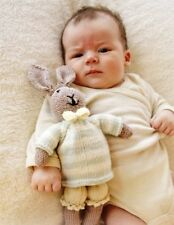 MR BUNNY TOY -  KNITTING YARN KIT AND FREE PATTERN - WITH PANTS JUMPER AND BOW