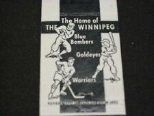 VERY RARE WINNIPEG ARENA MATCH BOOK FROM W/THE BLUE BOMBERS,GOLDEYES & WARRIORS