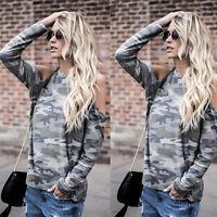 Off Shoulder Womens  Loose Shirt Fashion Ladies Summer Casual Blouse Top Shirt