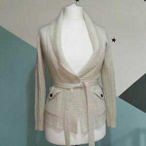 Whistles Cardigan wool Metallic  Size 1 uk size 8 wrap beige/grey