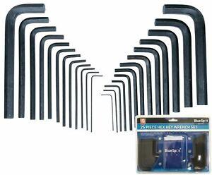 BlueSpot Metric & Imperial Hex Allen Key Set Kit Allan Alan Alen 25pc With Pouch