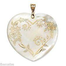 14K GOLD MOTHER OF PEARL FLORAL HEART SHAPED PENDANT CHARM NECKLACE