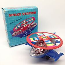 Vintage Space Station Wind-Up U-Turn Action Toy w/ Original Box Red Blue   LB-6
