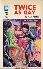 Vintage Sleaze PB Paperback - Twice as Gay - Eric Stanton Lesbian 1964 Near Fine