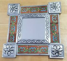 Mexican Tin & Tile Mirror, Talavera, Handmade, Picture frame, Rustic, decoration