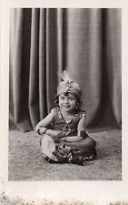 BJ341 Carte Photo vintage card RPPC Enfant déguisement oriental charmeur serpent