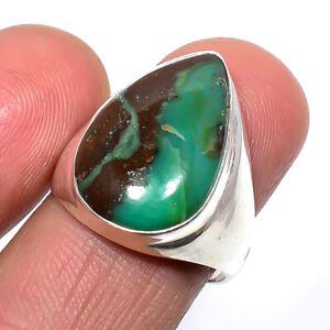Australian Boulder Chrysoprase 925 Sterling Silver Designer Ring s.8 S2677