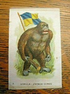 Antique tobacco/cigarette silk insert-GORILLA-French Congo/flag-c 1910-12