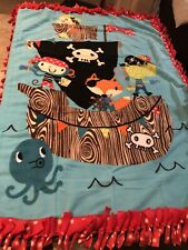 Pirate on Boat Fleece Blanket Quilt