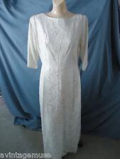 WHITE LACE+TAFFETA GOWN MAXI DRESS COSTUME WEDDING+BRIDAL VTG Womens MEDIUM MINT