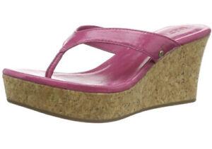"Ugg Natassia Wedge Thong Sandals Pink Patent Leather Cork 3"" Heel - SZ 6.5"