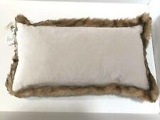 Newport - Ivory Decorative Velvet Throw Pillow Faux Fur Feather Down 18�x29� New