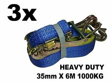 3x 35mm x 6M 1000KG TIE DOWN RATCHET STRAP HEAVY DUTY, QUALITY STRAPS