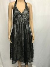 BEAUTIFUL MONSOON SIZE 16 BLACK EMBROIDERED SILK HALTERNECK OCCASION DRESS