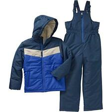 Faded Glory Boy's Snow Suit Ski bibs Winter Coat SnowSuit X-Small 4 5 Blue 2 pc