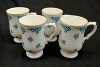 Royal Victoria Fine Bone China England Footed Tea / Coffee Cups Set of 4 Blue