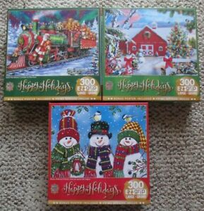 EUC Lot of 3 Holiday/Winter 300 Large EZ Grip Piece Puzzles with Posters