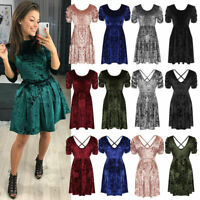 New Plus Size Ladies Short Sleeve Cross Back Velvet Skater Xmas Party Mini Dress