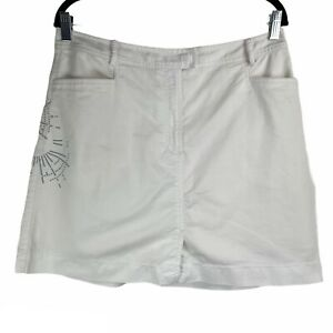 Nike Golf Fit Dry White Grey Embroidered Mini Skort Size 12
