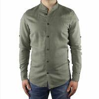 Camicia Uomo Collo Coreana Lino Slim Fit Manica Lunga Estiva Sartoriale Verde