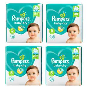 4x 30 Stück = 120x Pampers Baby Dry Größe 5 /11-16 kg 24-35 lbs Windeln new BABY