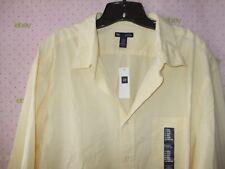New $40 GAP XXL KNIT YELLOW DRESS SHIRT LONG SLEEVE BUTTON CUFF nwt