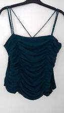 MONSOON TOP SIZE 12 GREEN SILK RUCHED SIDE ZIP LINED