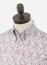 Art Gallery Clothing - Long Sleeve Fitted Shirt - Paisley - Wine M Mod Sixties